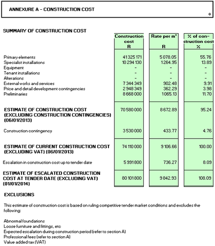 Estimate of Construction Cost Reports - small